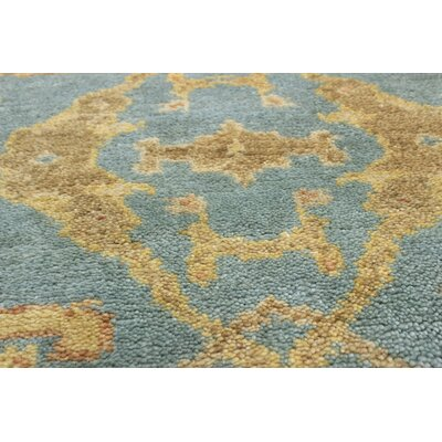 One-of-a-Kind Li Hand Knotted Wool Baby Blue Area Rug
