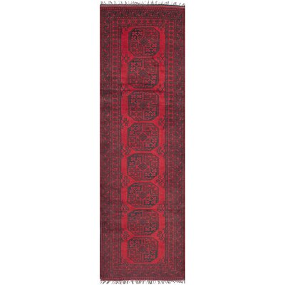 One-of-a-Kind Bridges Southwestern Hand Knotted Runner Wool Red Area Rug