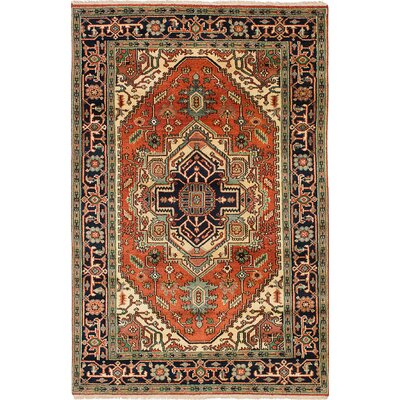 Briggs Traditional Floral Hand Knotted Wool Dark Copper Area Rug