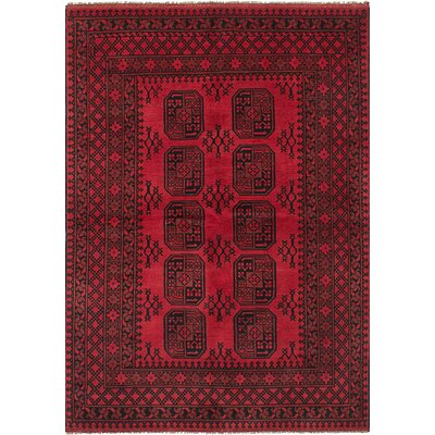 One-of-a-Kind Bridges Geometric Hand Knotted Wool Red Fringe Border Area Rug