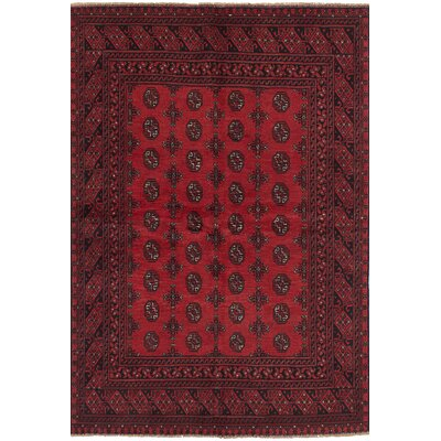 Bridges Hand Knotted Rectangle Wool Red Fringe Border Area Rug