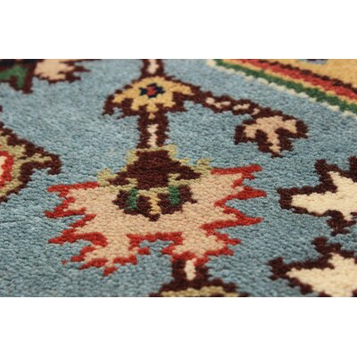 One-of-a-Kind Briggs Hand Knotted Wool Cream/Sky Blue Area Rug