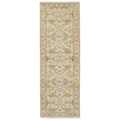 One-of-a-Kind Li Hand Knotted Runner Wool Cream Area Rug