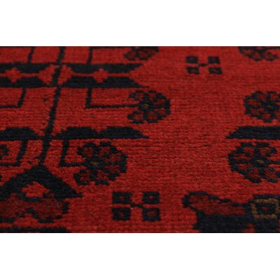 One-of-a-Kind Rosales Geometric Hand Knotted Runner Wool Red Area Rug