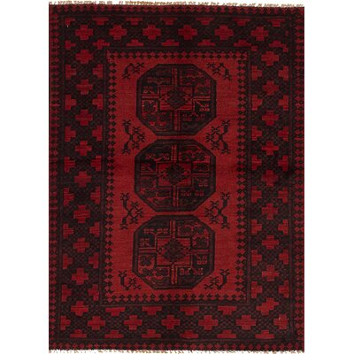 Bridges Geometric Hand Knotted Wool Red Border Area Rug Rug Size: 34 x 410