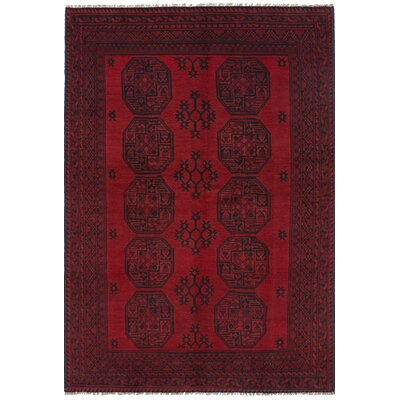 Bridges Hand Knotted Wool Red Fringe Border Area Rug