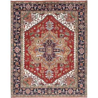 One-of-a-Kind Briggs Hand Knotted Wool Dark Copper/Dark Navy Blue Area Rug