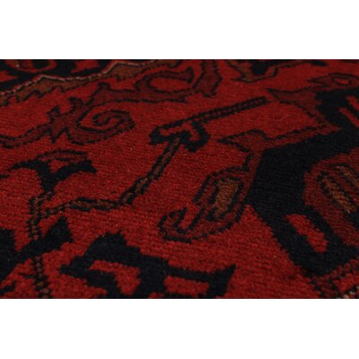 Rosales Traditional Geometric Hand Knotted Wool Red Indoor Area Rug