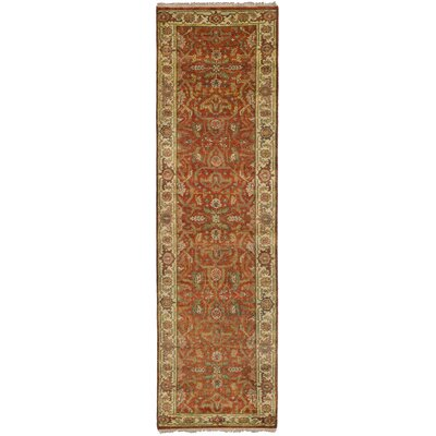 One-of-a-Kind Briggs Floral Hand Knotted Runner Wool Dark Copper Area Rug
