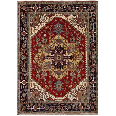 Briggs Floral Hand Knotted Rectangle Wool Dark Copper Fringe Area Rug