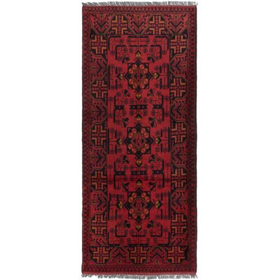 Rosales Tribal Hand Knotted Runner Wool Red Area Rug
