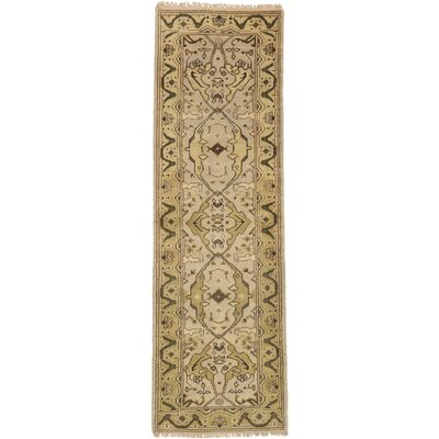 One-of-a-Kind Li Traditional Hand Knotted Wool Cream Area Rug