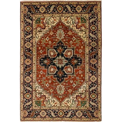 One-of-a-Kind Briggs Traditional Geometric Hand Knotted Wool Dark Copper Area Rug