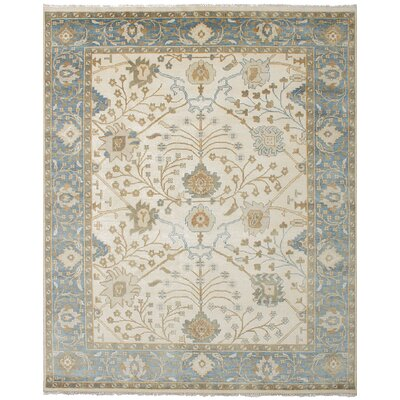 One-of-a-Kind Li Hand Knotted Wool Cream Fringe Area Rug