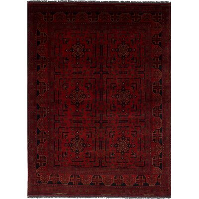 One-of-a-Kind Rosales Hand Knotted Rectangle 100% Wool Red Indoor Area Rug