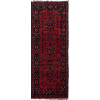 Rosales Hand Knotted Runner Wool Red Indoor Area Rug