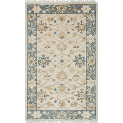 Li Hand Knotted Rectangle Wool Cream/Dark Gray Area Rug