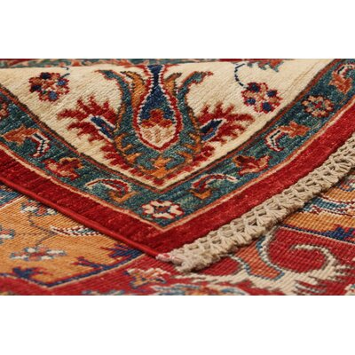 Castellanos Hand Knotted Rectangle Wool Red Area Rug