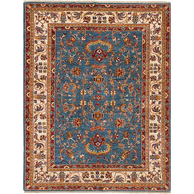 Castellanos Hand Knotted Wool Dark Blue Area Rug