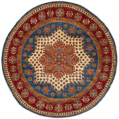 Hartnett Hand Knotted Wool Blue/Dark Copper Area Rug