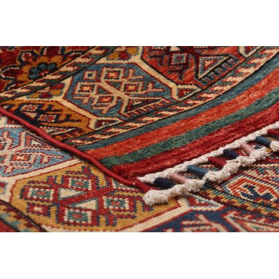 Hartnett Hand Knotted Wool Dark Red Area Rug