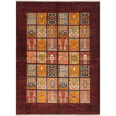 Max Hand Knotted Wool Rectangle Dark Red Area Rug