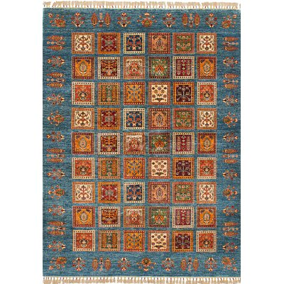 One-of-a-Kind Max Hand Knotted Wool Blue Area Rug