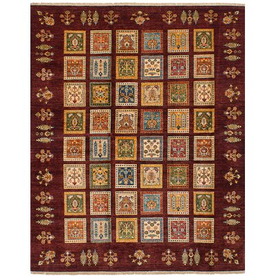 Max Hand Knotted Wool Dark Red Area Rug