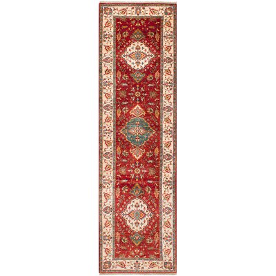 One-of-a-Kind Castellanos Traditional Hand Knotted Wool Red Area Rug