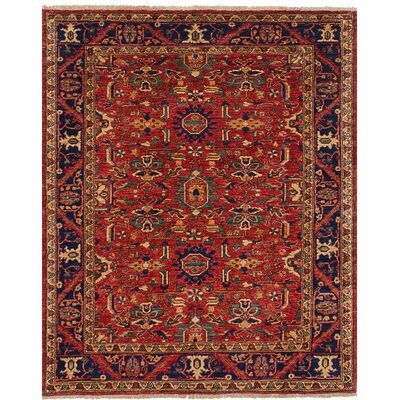 Castellanos Hand Knotted Wool Red Area Rug