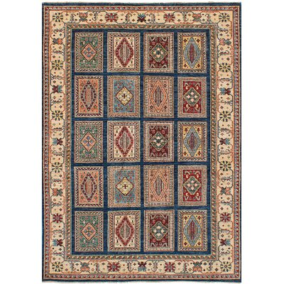Max Hand Knotted Wool Dark Blue Area Rug