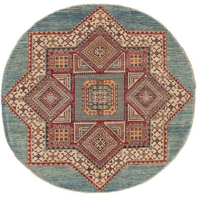 One-of-a-Kind Hartnett Hand Knotted Wool Light Blue/Red Area Rug