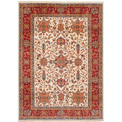 Castellanos Hand Knotted Wool Cream/Red Area Rug