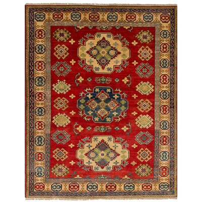 Bernard Traditional Hand-Knotted Weave 100 % Wool Rectangular Red Geometric Indoor Area Rug