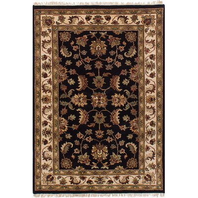 Hounsfield Hand-Knotted Wool Rectangular Black Indoor Area Rug