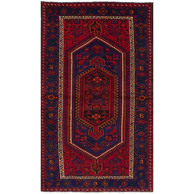 One-of-a-Kind Orinda Hand-Knotted Wool Red/Blue Indoor Area Rug