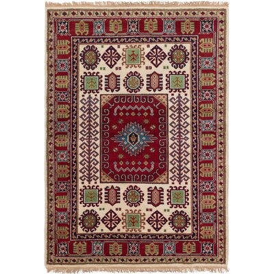 Berkshire Hand-Knotted Wool Cream/Red Indoor Area Rug