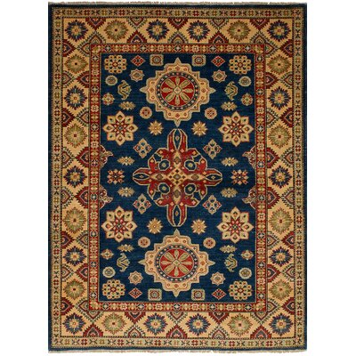 One-of-a-Kind Bernard Hand-Knotted Wool Navy Blue Geometric Indoor Area Rug