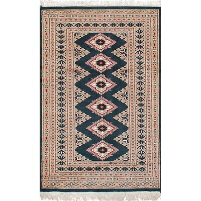 One-of-a-Kind Onondaga Hand-Knotted Wool Rectangular Dark Green Area Rug