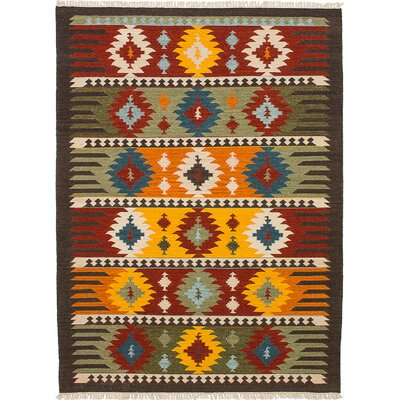 Finian Hand-Woven Wool Dark Red/Orange Indoor Area Rug