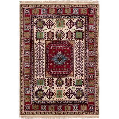One-of-a-Kind Berkshire Hand-Knotted Wool Red/Beige Indoor Area Rug