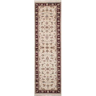One-of-a-Kind Lacefield Hand-Knotted Wool Cream/Brown Area Rug