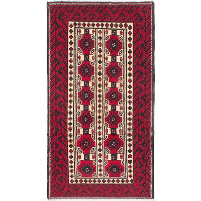 One-of-a-Kind Rivas Hand-Knotted Wool Beige/Red/Black Indoor Area Rug