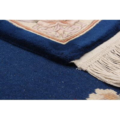 One-of-a-Kind Allen Park Traditional Hand-Knotted Wool Dark Blue/Beige Indoor Area Rug