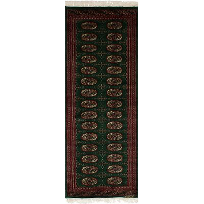 One-of-a-Kind Olney Springs Hand-Knotted Wool Dark Green/Red Indoor Area Rug
