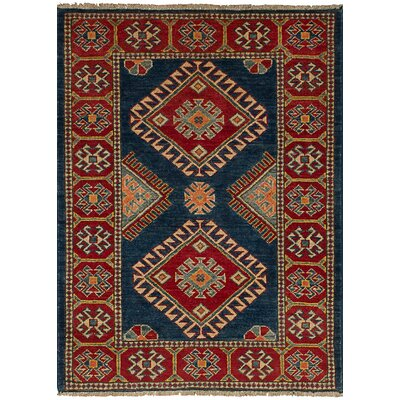 Bernard Hand-Knotted 100% Wool Navy Blue Indoor Area Rug