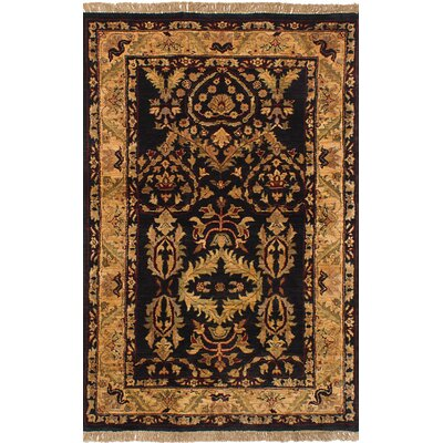 One-of-a-Kind Hounsfield Hand-Knotted Wool Black/Yellow Area Rug