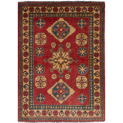 Bernard Hand-Knotted Wool Rectangular Red Geometric Indoor Area Rug