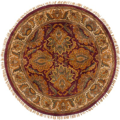 Ina Hand-Knotted Wool Round Dark Red Indoor Area Rug