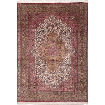 Bunche Park Hand-Knotted Wool Cream/Dark Pink Indoor Area Rug